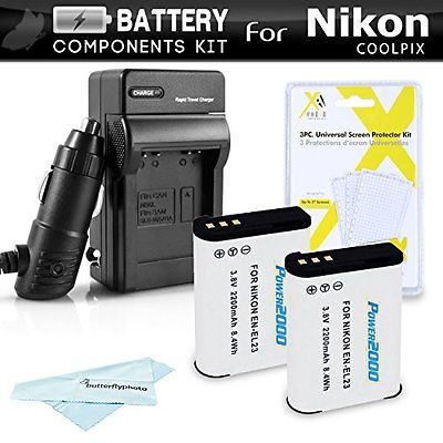 2 Pack Camera Batteries Battery And Charger Kit For Nikon COOLPIX P900, P610, 2