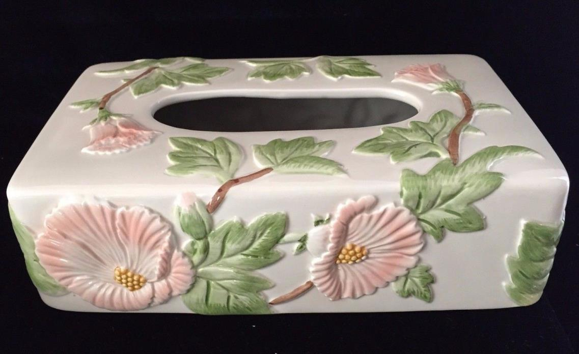 Fitz and Floyd Ceramic Floral Tissue Box Cover Holder 1988 Hand Painted