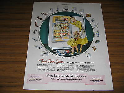 1948 Vintage Ad Westinghouse Refrigerators Happy Mom & Daughter