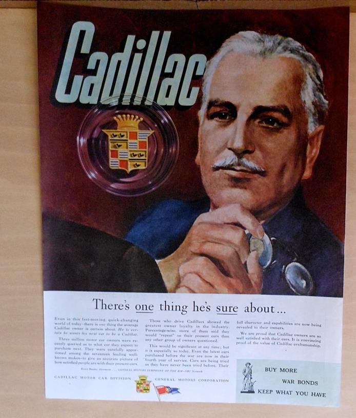 1945 magazine ad for Cadillac - Cadillac owner ponders the future & new car