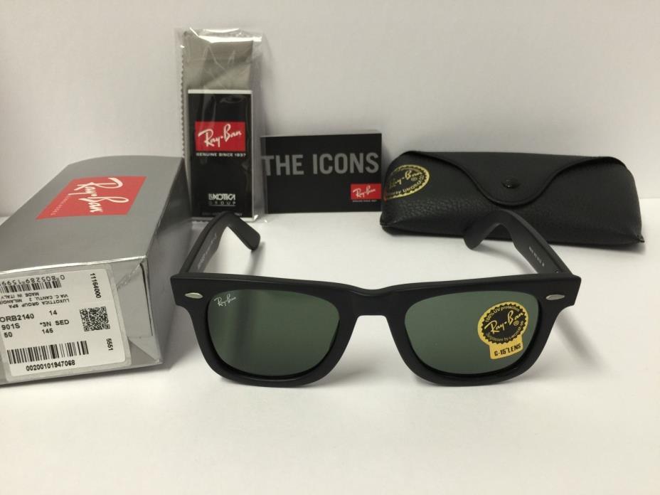 Ray-Ban Wayfarer Sunglasses RB2140 901S Matte Black Frame Green G15 Lenses 50mm