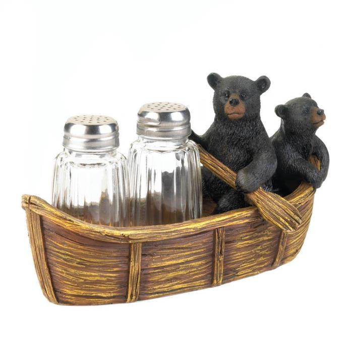 Black Bear Canoe Salt & Pepper Shaker Holder Kitchen Cabin Lake Log Home Decor