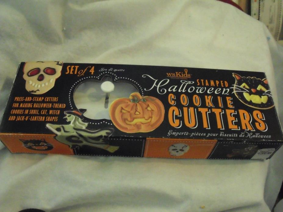 Halloween Cookie Cutters, Stamped, Set of 4, Williams-Sonoma 2008., NIP