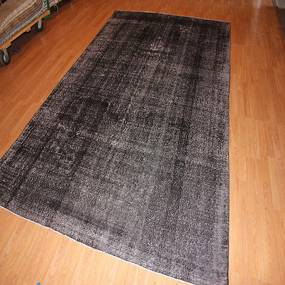 Gray & Black Turkish Antique Area Rug Overdyed Vintage Persian Carpet 7 X 10
