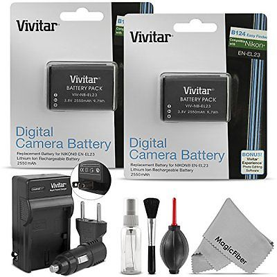 (2 Pack) Camera Batteries Vivitar EN-EL23 Battery and Charger Kit for NIKON
