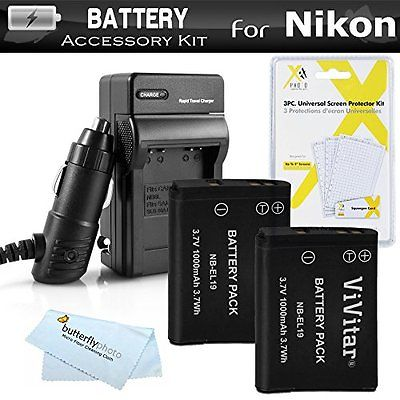 2 Pack Accessory Bundles Battery And Charger Kit For Nikon Coolpix S3700, S2800