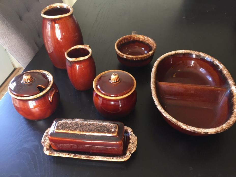 Hull Pottery lot: saucers; jelly and sugar; butter; soup mug; vegatable divider