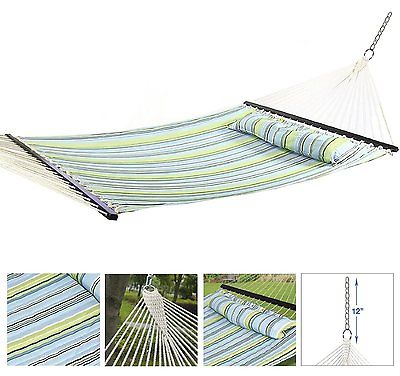 Hammock Double New Quilted Comfort Heavy Duty Pillow UV Resistant Wood Bar