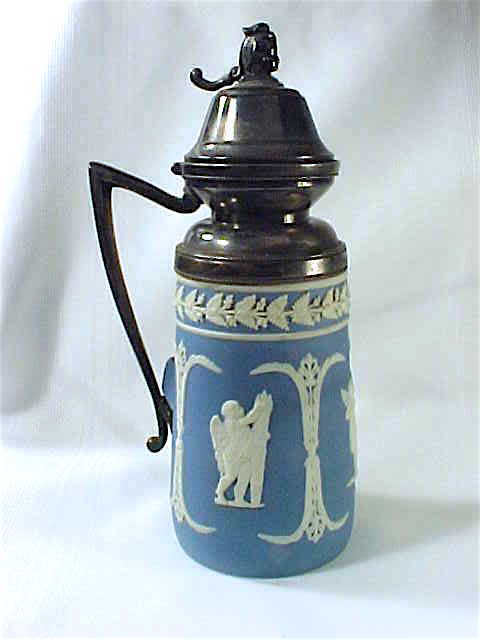 Victorian Jasperware syrup pitcher Wedgwood style silver plate figural finial
