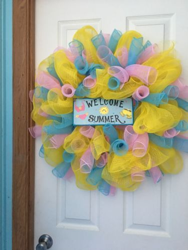 Deco Mesh Wreath Welcome Summer