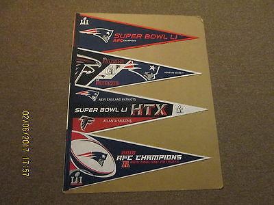 NFL New England Patriots Super Bowl LI Lot of 4  Different Football Pennants