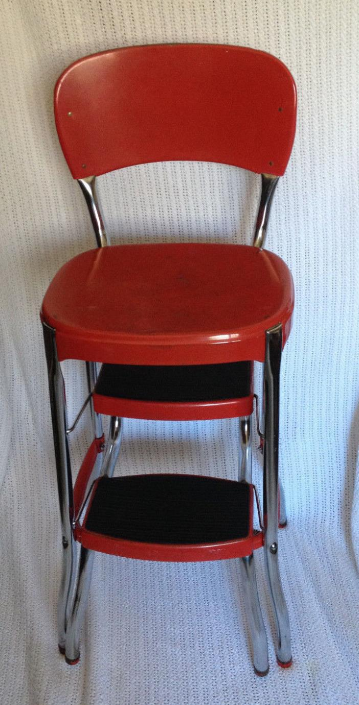 Vintage Retro Cosco Stylaire Red Kitchen Chair Seat Step Stool Mid Century
