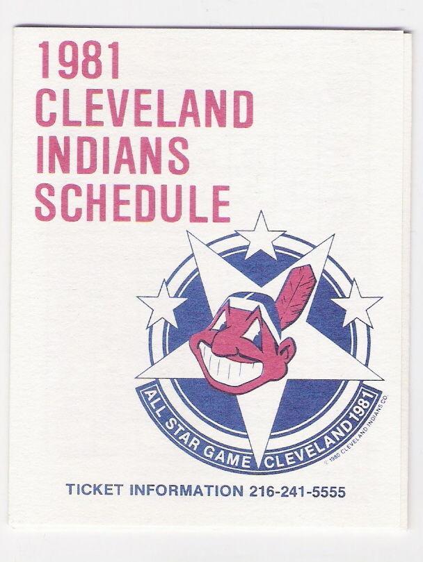 1981 CLEVELAND INDIANS POCKET SCHEDULE - 81 MLB ALL-STAR GAME CLEVELAND STADIUM