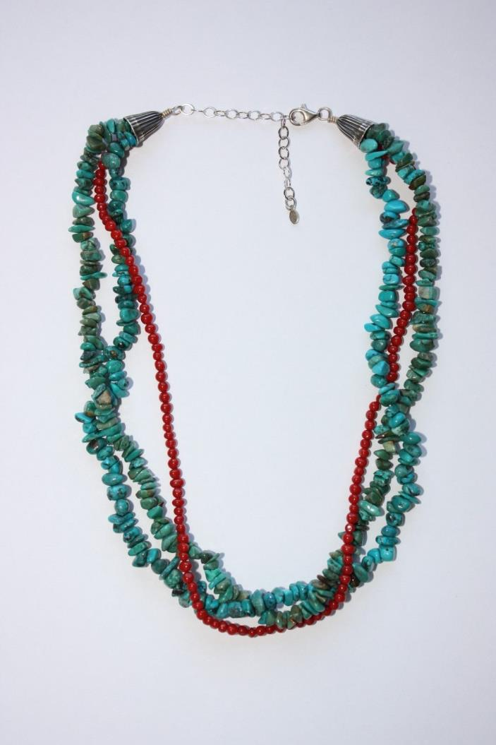 BNWOT Southwestern QVC Sterling Silver Multi Strand Turquoise & Coral Necklace!