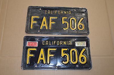 Original Paint Pair 1963 63 - 69 California CA YOM Black License Plates FAF 506