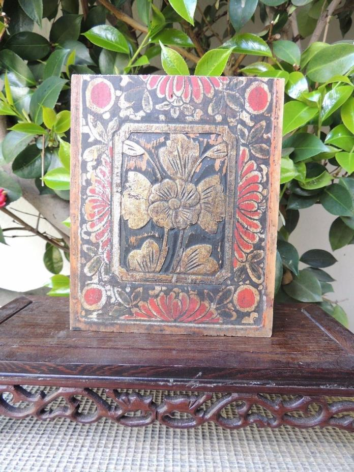 B643 Antique Carved Gold Gilt Wood Panel with Flower