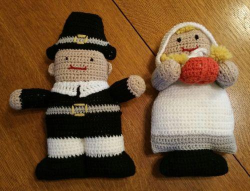 Thanksgiving Crocheted Pilgrim Dolls Finished Boy Girl Complete Handmade