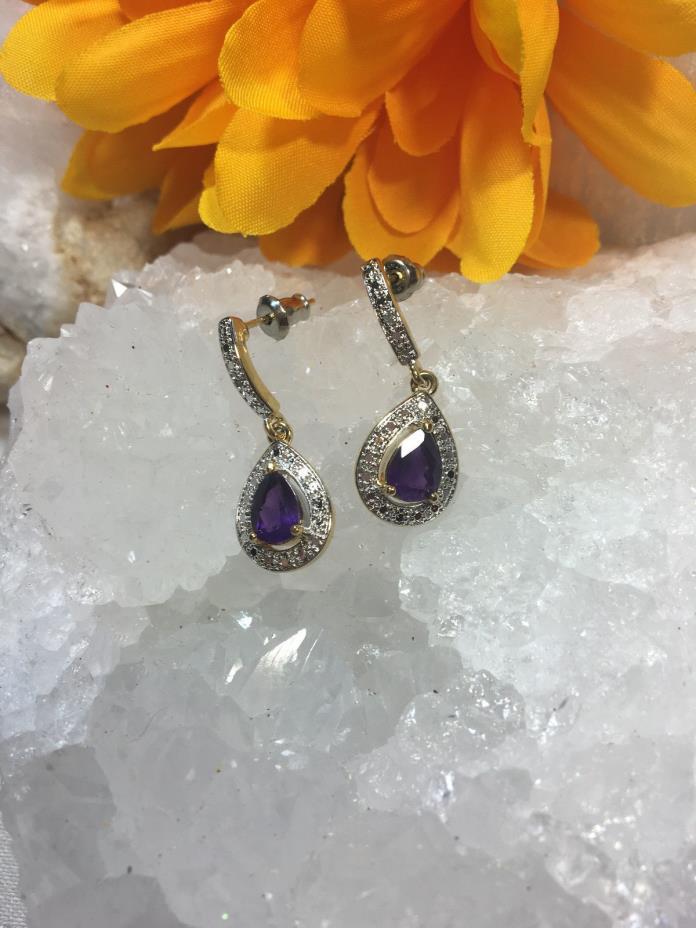 Lovely Purple Amethyst Rhinstones Silver Gold Vintage Pierced Earrings  Signed