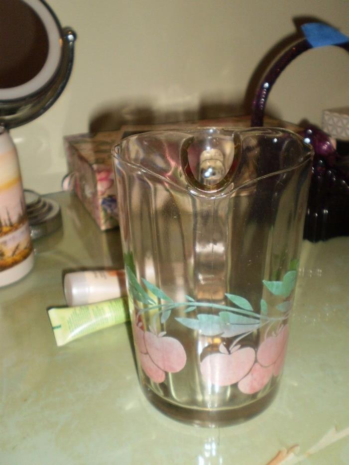 vintage clear 7 x 4 inch pitcher with cherry's