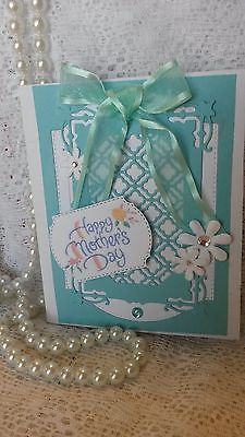 Beautiful Handmade Die Cut Mothers Day Aqua card 3-D
