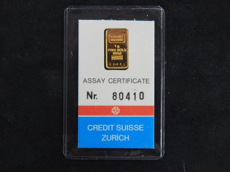 1981 Credit Suisse Zurich 1 Gram Gold Bar .999 Fine - Assay Certificate