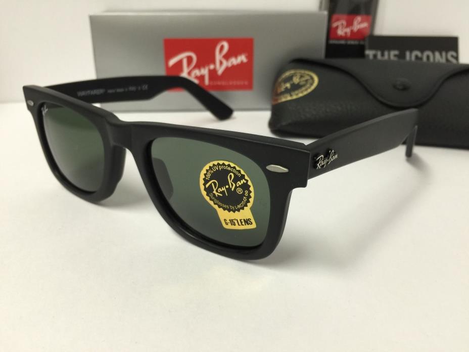 Ray-Ban Wayfarer Sunglasses Unisex RB2140 901S Matte Black Green Lenses 50mm