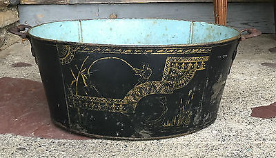 ANTIQUE Painted toleware blue gold ASIAN FISHING CARP SHABBY CHIC BABY WASH TUB