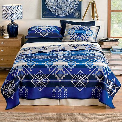 Pendleton Star Wheels Queen Blanket Sapphire 64x 80 Unnaped
