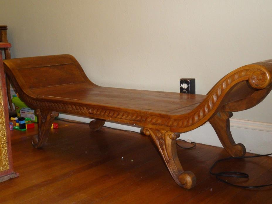 Antique Indonesian Curved Bench