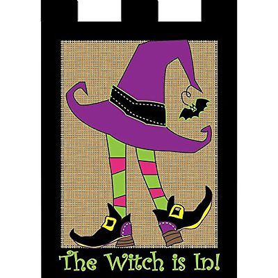 The Witch Is In Striped Stalkings 18 x 13 Rectangular Burlap Double Applique Sma