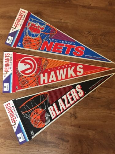 Lot Of 3 Vintage NBA Pennants New Jersey Nets Atlanta Hawks Trailblazers Rare