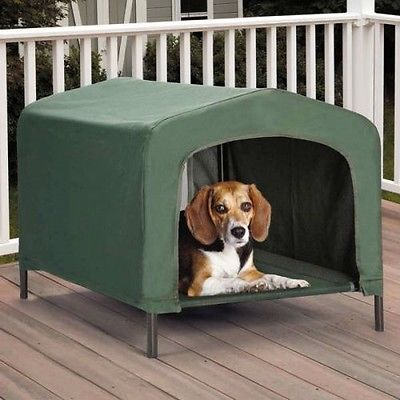 Green Portable Outdoor Dog House Elevated Cool Covered Cot Water-Resistant  New