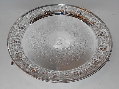 ANTIQUE EDWARDIAN STERLING SILVER RARE SCOTTISH 12 INCH SALVER TRAY