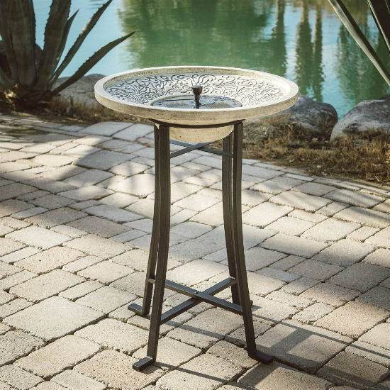 Belham Living Perello Concrete Solar Bird Bath With White Bowl by Smart Solar