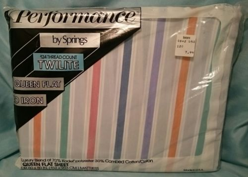 Vtg QUEEN FLAT SHEET STRIPES HAMPTON PERFORMANCE BY SPRINGS 60
