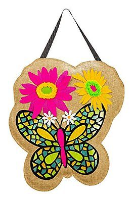 Evergreen Butterfly Burlap Door Decor