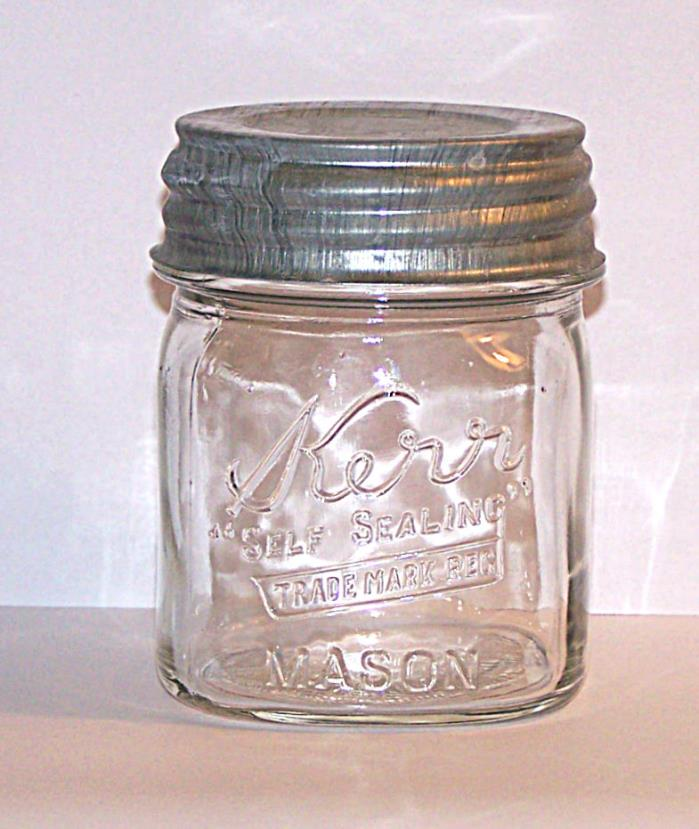 Vintage Square Clear Glass Half Pint Kerr Canning Jar Zinc Porcelain Lid AHK 8oz