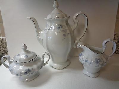 Johann Haviland BLUE GARLAND Platinum accents Coffee Teapot Creamer and Sugar