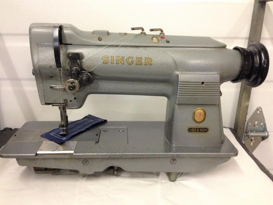 SINGER  212G340  2-NEEDLE LEATHER  1/4 BIG BOBBIN INDUSTRIAL SEWING MACHINE