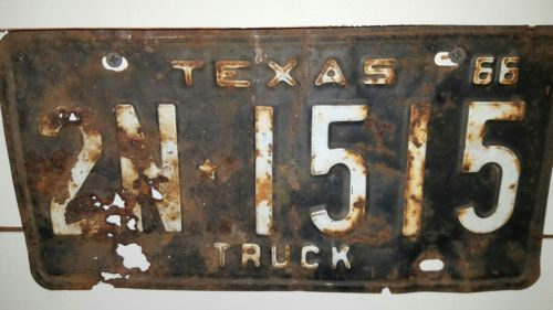 Texas TRUCK 1966  license plate #   2N * 1515