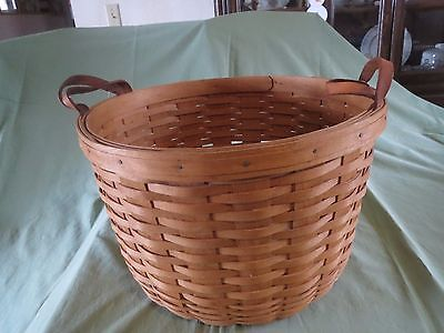 LONGABERGER BASKET =1993 =ROUND FRUIT BASKET WITH LEATHER HANDLES.