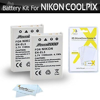 2 Pack Camera Batteries Battery Kit For Nikon COOLPIX P100 P500 P510 P520 P530 2