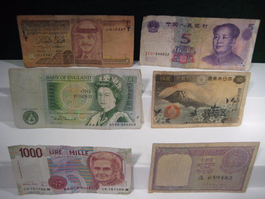 Various World Paper Money.  Italy, India, Jordan, China, England, Japan.