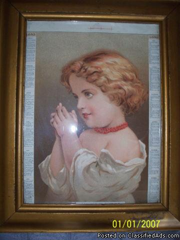 rare 1882 calendar with wood frame and glass from the same year