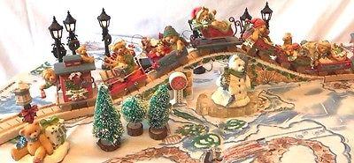 Cherished Teddies Santa Express Train Set of 8 Cars, Tracks, Etc.- Complete Set