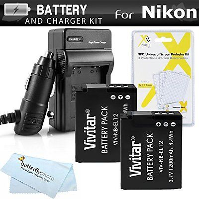 2 Pack Accessory Kits Battery And Charger Kit For Nikon COOLPIX S9900, A900, 170