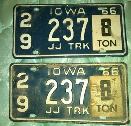 Set o 1966 iowa jj trk license plates