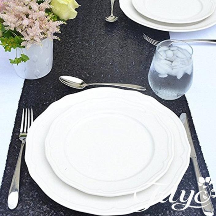 ELINA'S PACK OF1 Wedding 13 x 108 inch Sequin Table Runner Wedding Banquet Decor