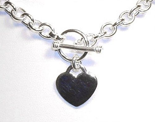 Heart Charm Toggle Link Silver Necklace (18