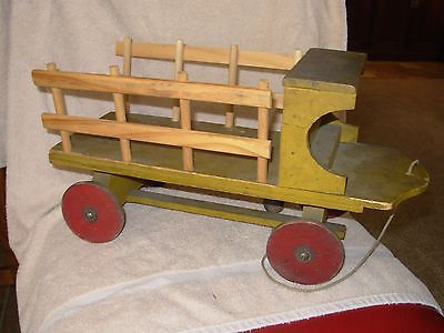 Antique Wood Toy Truck Original Wooden Wheels